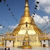 Botataung Pagoda Stupa With Flags Yangon Myanmar
