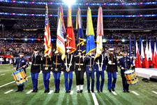 Armed Forces Color Guard At Super Bowl XLV