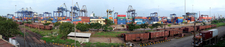 A Panoramic View Of The Container Terminal At The Port