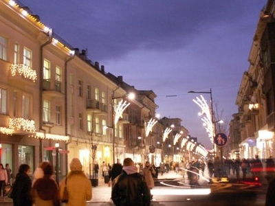 Pedestrian Boulevard At Night
