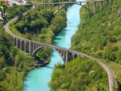 Solkan Bridge Over Soca River