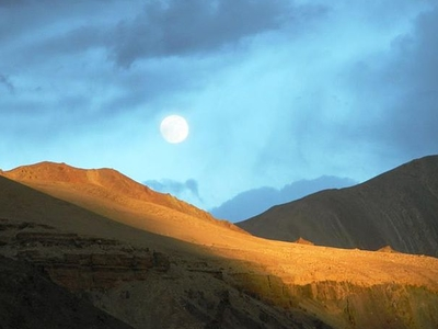 Sunset And Moonrise At Leh